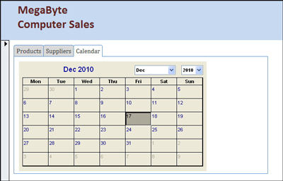 Microsoft Access 2010 using form tabs, duplicate records, calendar control