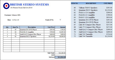 Microsoft Excel 2003 and 2004 invoice