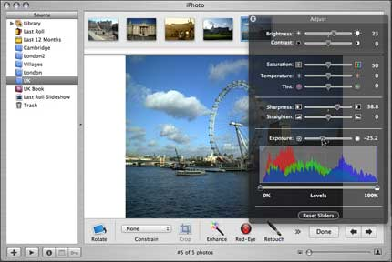 IPhoto 5 rotate, crop and adjust colour of photos